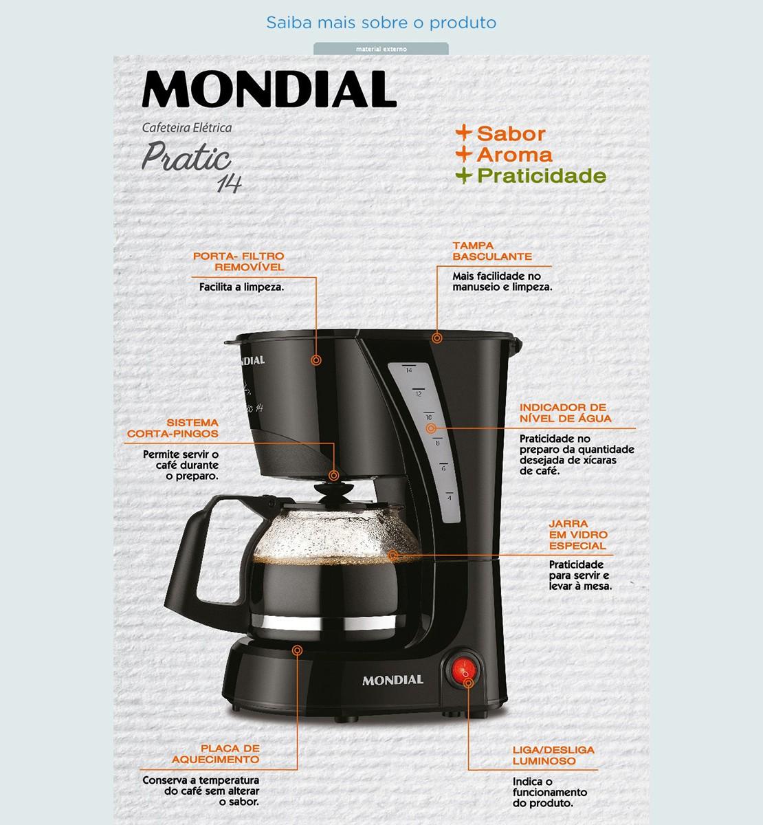 Cafeteira El Trica Mondial C 25 Pratic 14 14 X Caras Preto