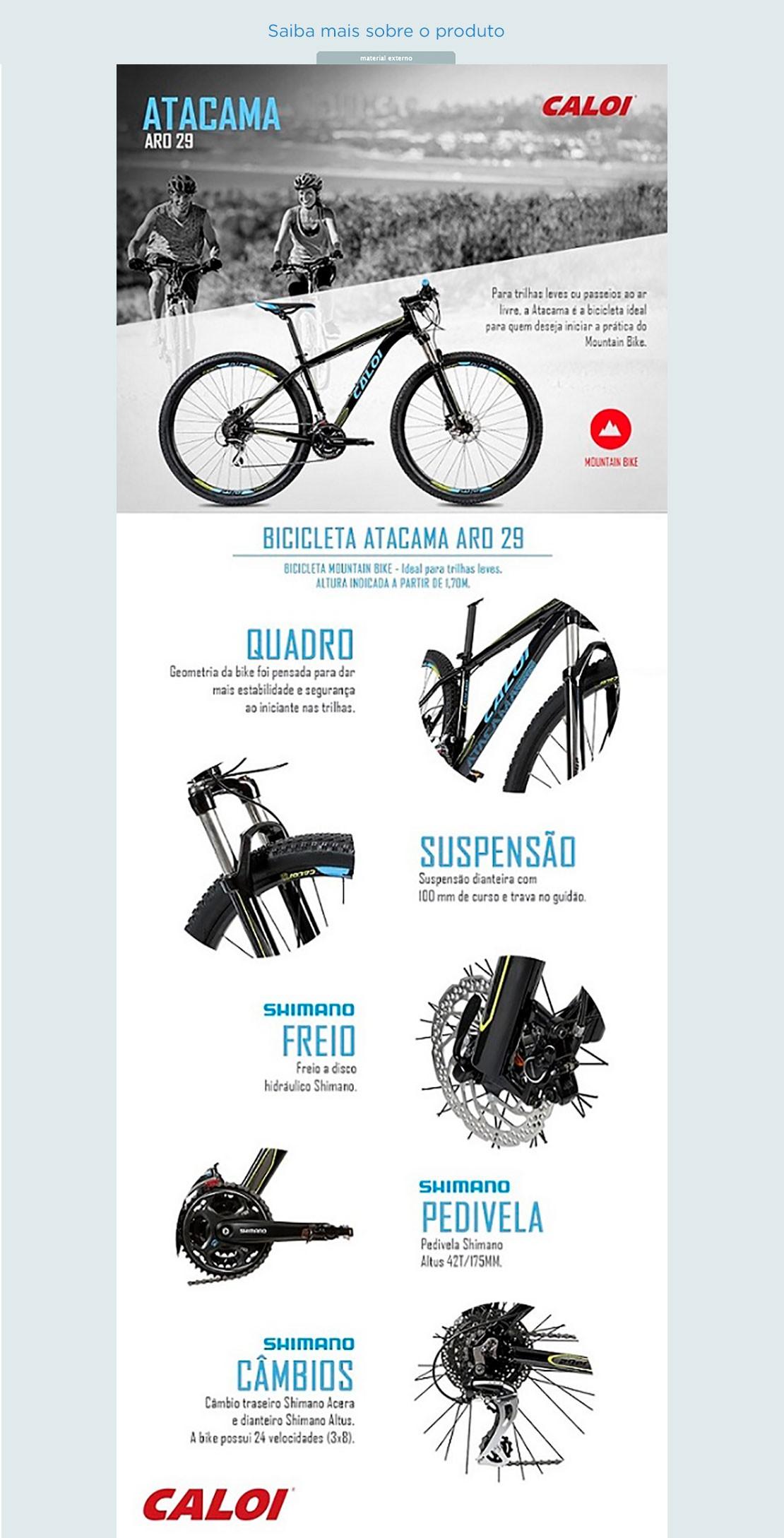 a961b0f10 Bicicleta Caloi Atacama Aro29 24 Marchas Suspensão - Dianteira Câmbio  Shimano Quadro de Alumínio