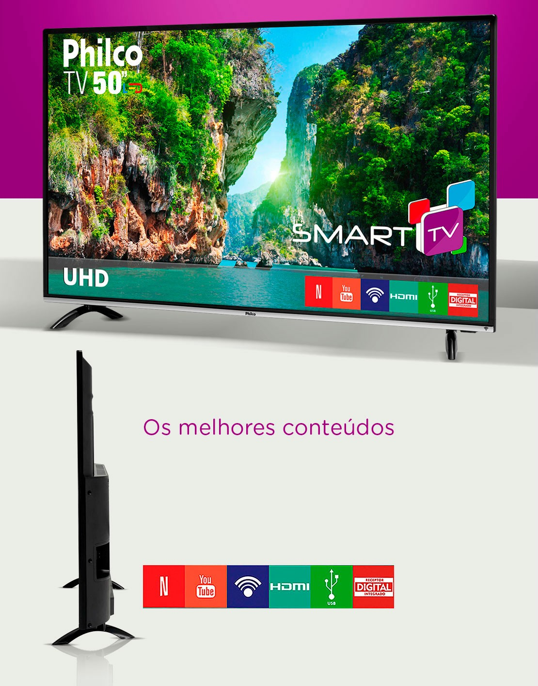 "58cf2cade Smart TV 4K LED 50"" Philco PTV50F60SN Wi-Fi - Conversor Digital 3 ..."