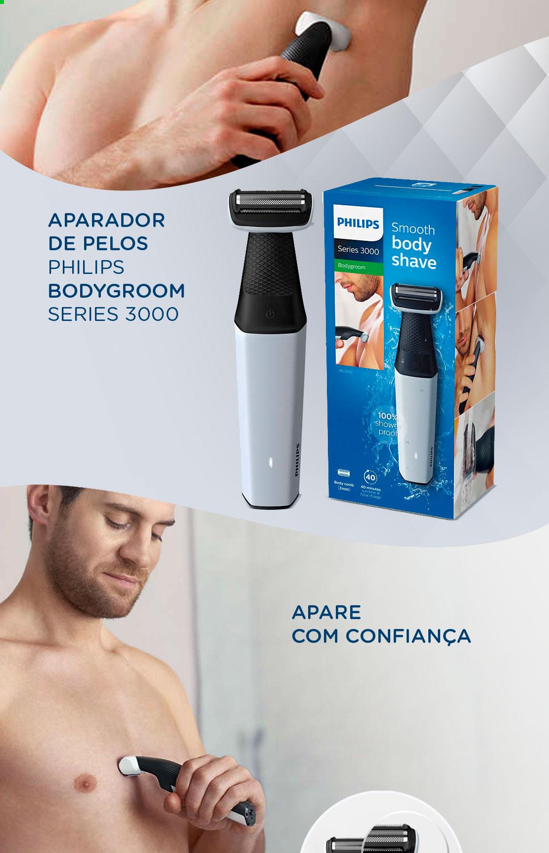 e9387514e Que tal aparar os pelos do corpo e fazer a barba sem medo de ficar com a  pele irritada? Com o Philips BodyGroom BG3005/15 você faz isso de uma forma  prática ...