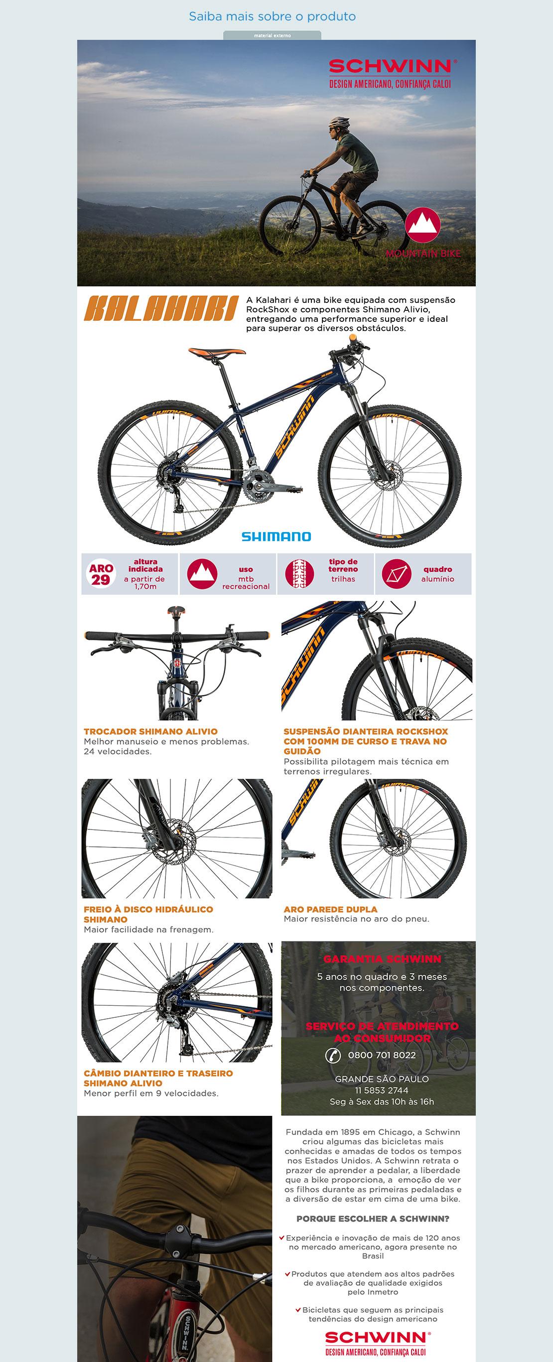 53401e7e4 Bicicleta Caloi Schwinn Kalahari T19 Aro 29 - 27 Marchas Suspensão ...