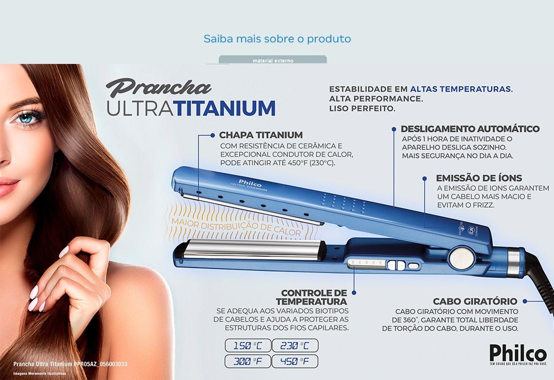 Chapinha/Prancha de Cabelo Philco Ultra Titanium - PPR05AZ Turmalina com  Íons 230C - Chapinha / Prancha - Magazine Luiza